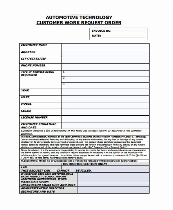 Work Request form Template Fresh 10 Work order Templates Pdf Apple Pages