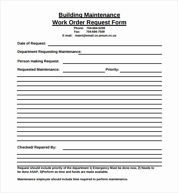 Work Request form Template Inspirational Free 8 Sample Maintenance Work order forms In Pdf