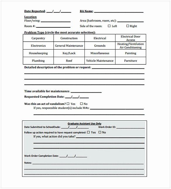 Work Request form Template Luxury Construction Work order Template