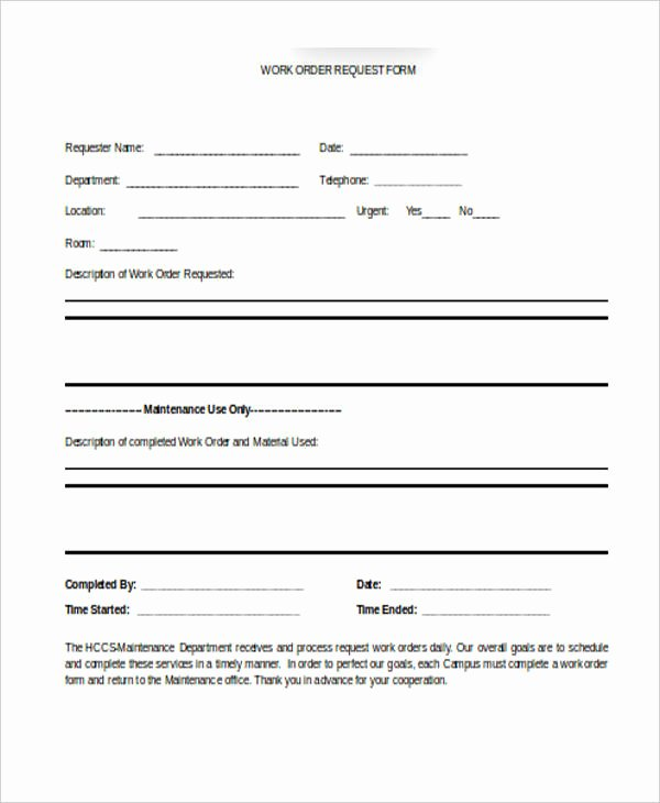Work Request form Template Luxury Free 22 Work order form In Templates Pdf