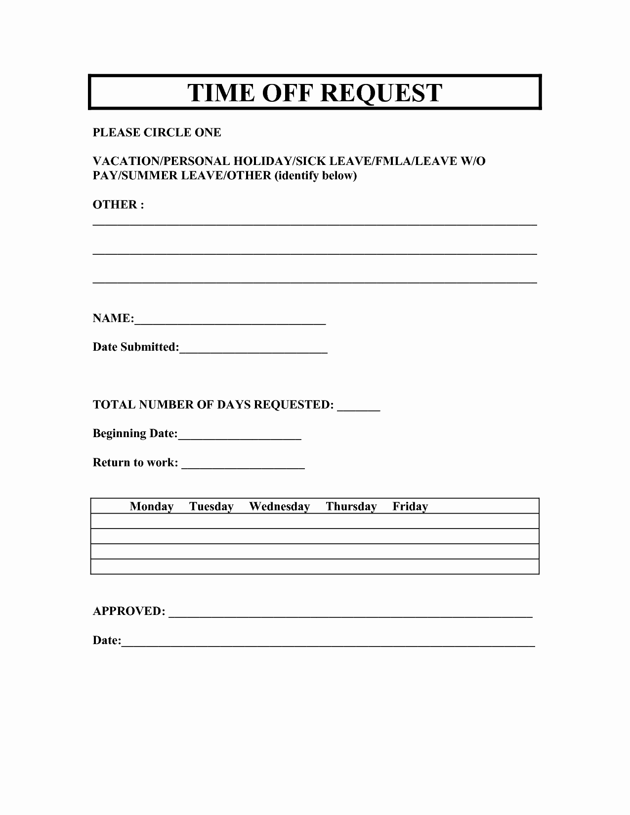 Work Request form Template Unique Vacation Time F Request Template