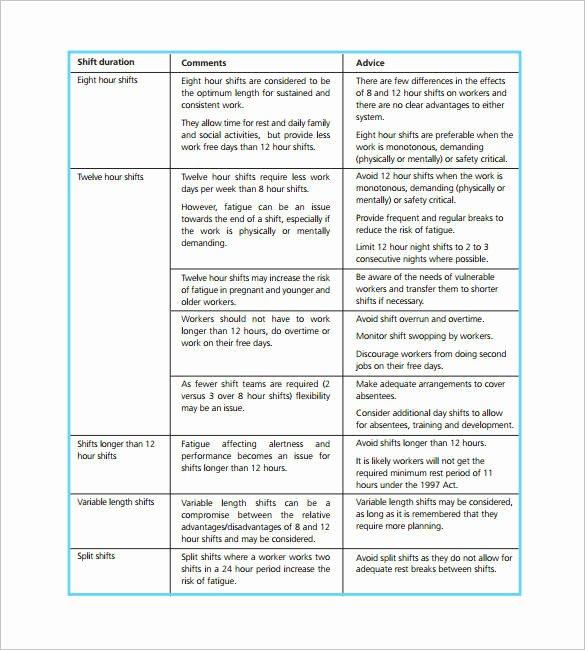 Work Schedule Template Pdf Elegant 13 Employee Shift Schedule Samples & Templates Pdf