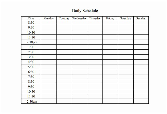 Work Schedule Template Pdf Fresh Weekly Work Schedule Template 8 Free Word Excel Pdf