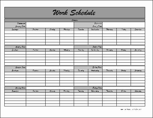 Work Schedule Template Pdf Fresh Work Schedule Template