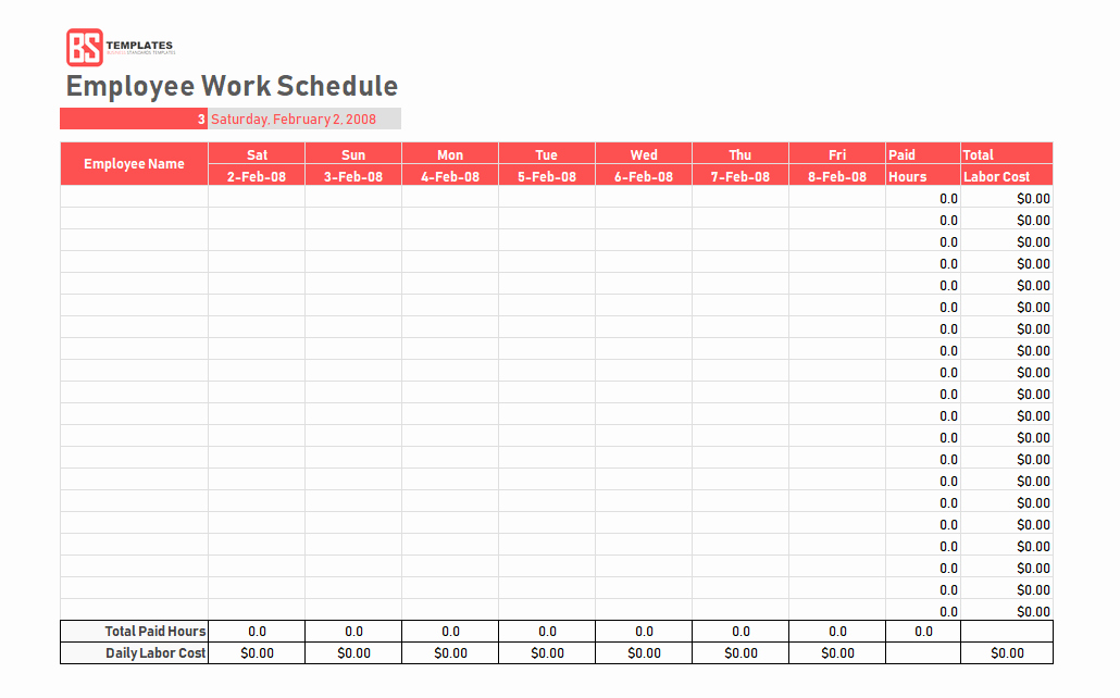 Work Schedule Template Pdf Lovely Work Schedule Template Daily Weekly