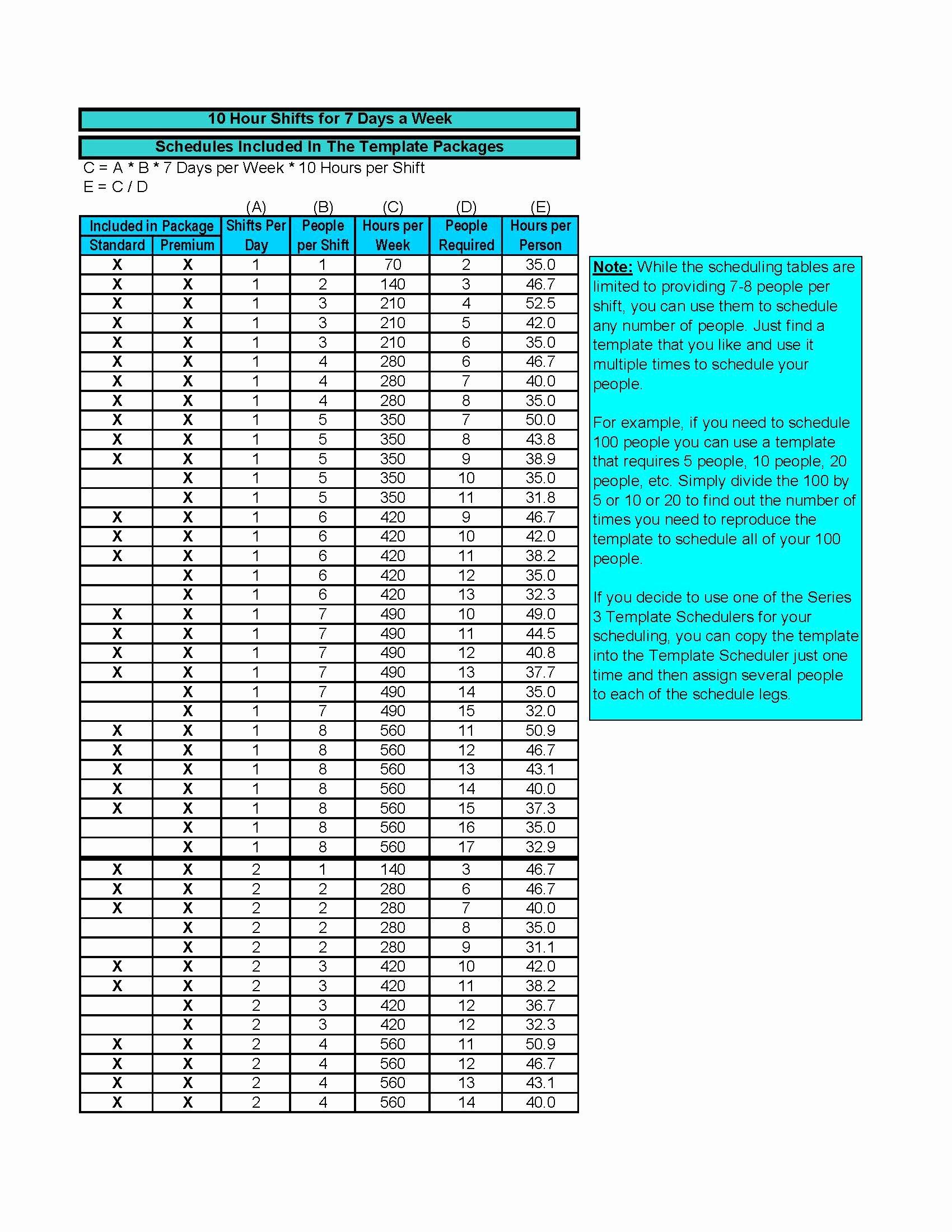 Work Schedule Template Pdf Luxury Employee 10 Hour Work Schedule Template Pdf Pdf format