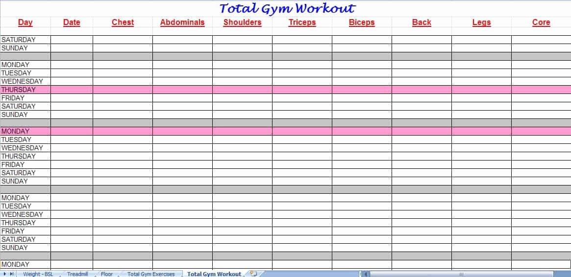 Workout Plan Template Excel Lovely 3 Excel Workout Templates Excel Xlts