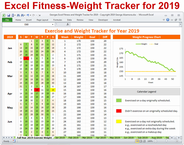 Workout Plan Template Excel New Excel Fitness Weight Tracker for Year 2019 Spreadsheet
