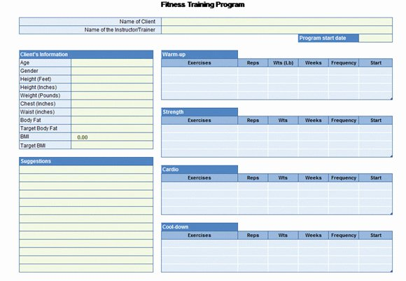 Workout Plan Template Excel New Workout Chart for Excel