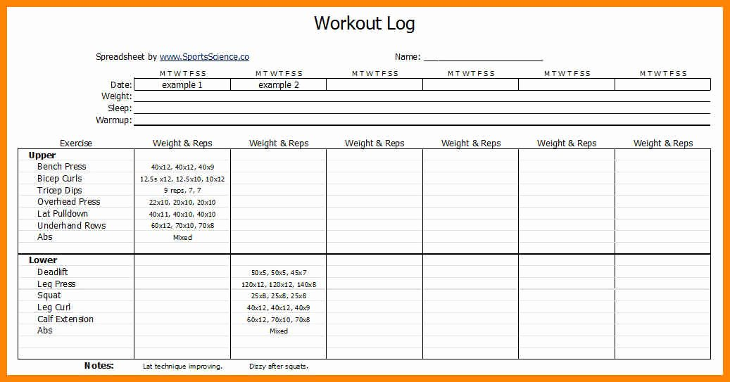 Workout Plan Template Excel New Workouts Log Templates Printable In Pdf Excel Template