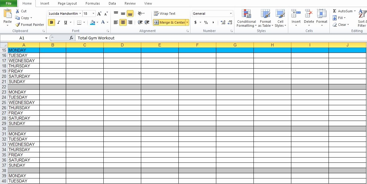 Workout Plan Template Excel Unique Gym Workout Plan Spreadsheet for Excel Excel Tmp