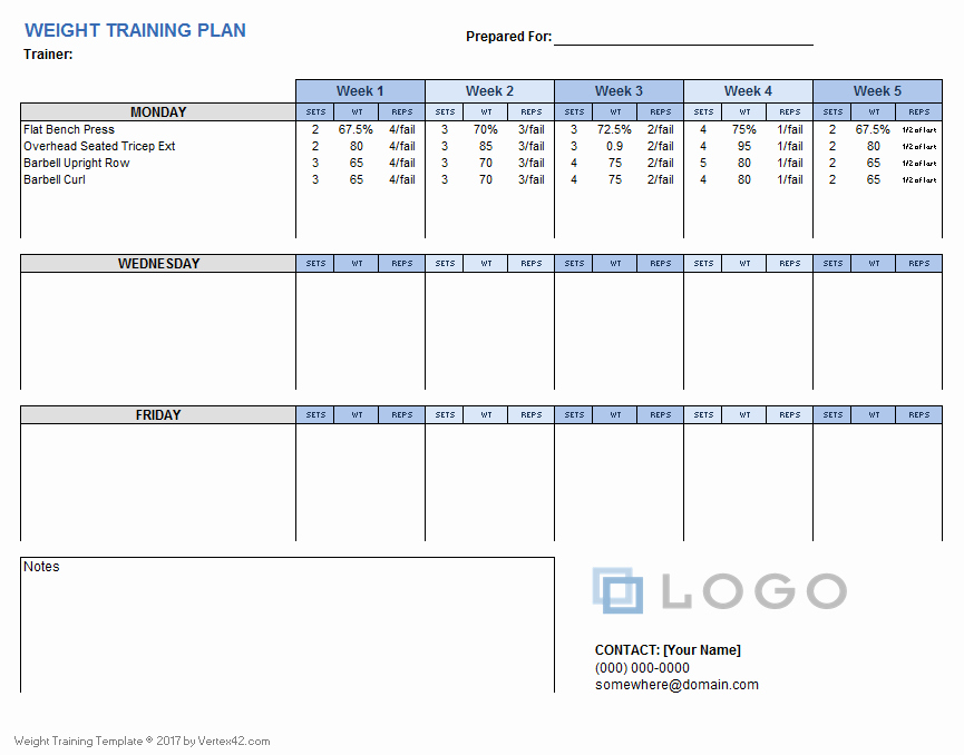 Workout Schedule Template Excel Beautiful Weight Training Plan Template for Excel