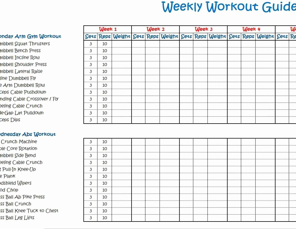 Workout Schedule Template Excel Elegant Weekly Workout Schedule