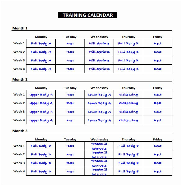 Workout Schedule Template Excel Elegant Workout Table Template