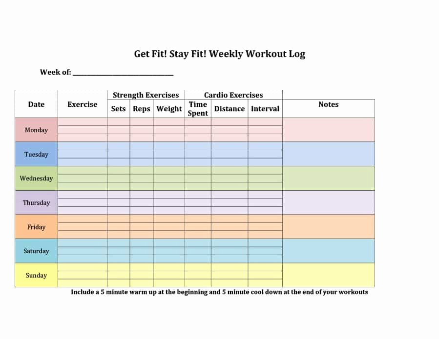 Workout Schedule Template Excel Fresh 40 Effective Workout Log & Calendar Templates Template Lab