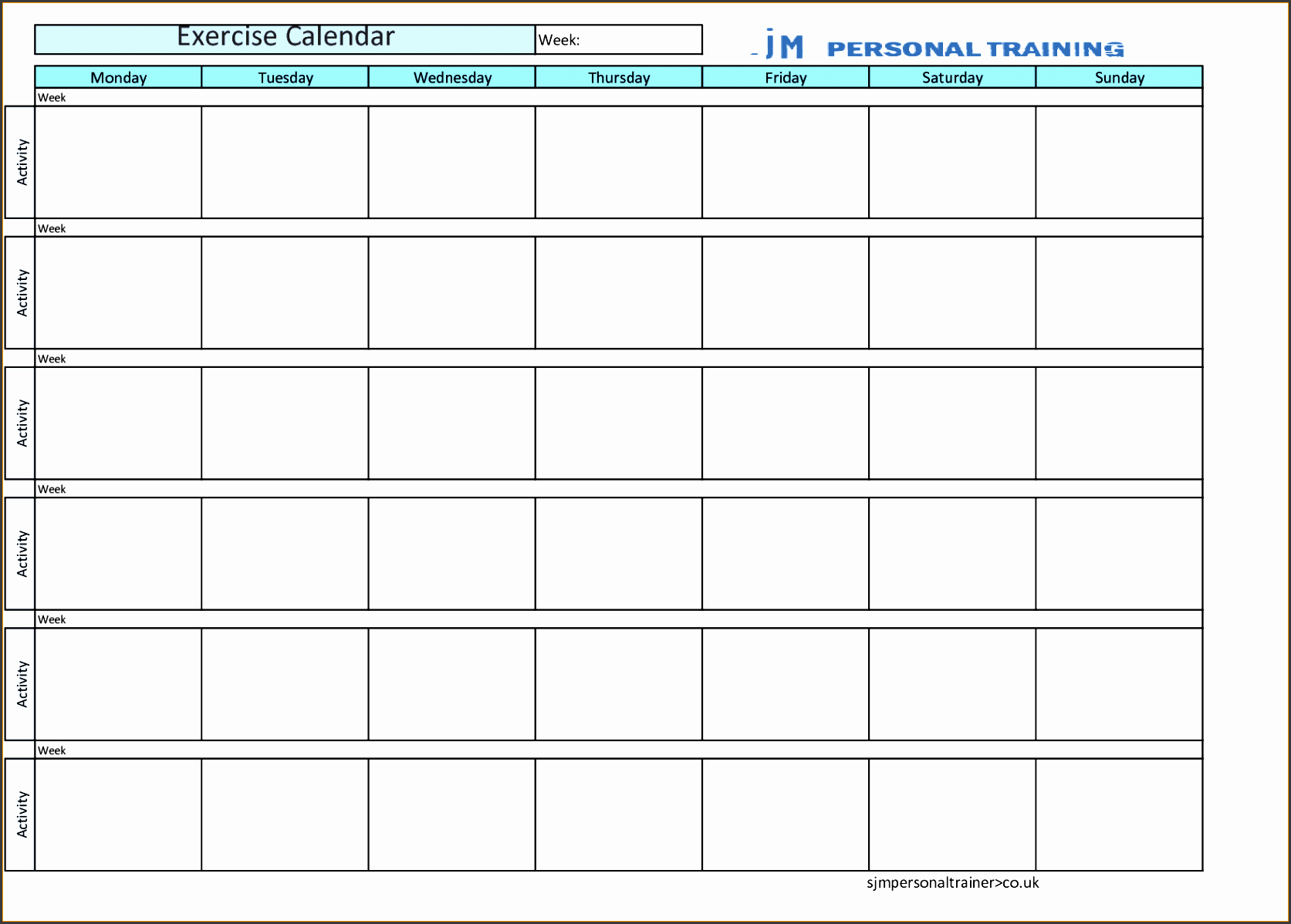 Workout Schedule Template Excel Fresh 8 Free Fitness Plan Template In Excel Sampletemplatess