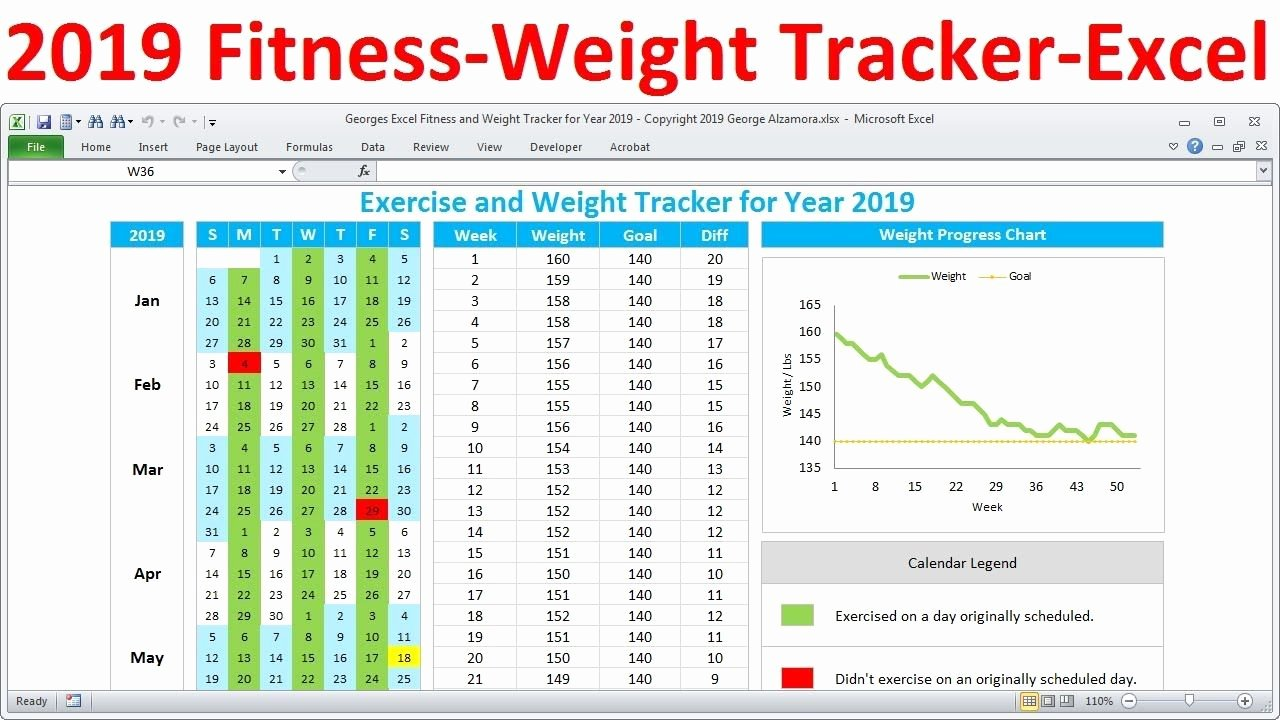 Workout Schedule Template Excel Fresh Fitness Tracker and Weight Loss Tracker for 2019 Workout