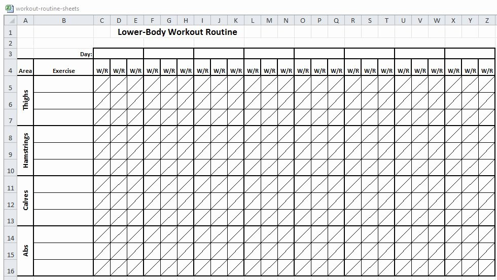 Workout Schedule Template Excel Inspirational Excel Workout Routine Sheets