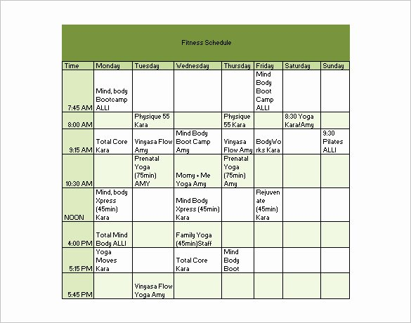 Workout Schedule Template Excel Lovely Workout Schedule Template 8 Free Sample Example format