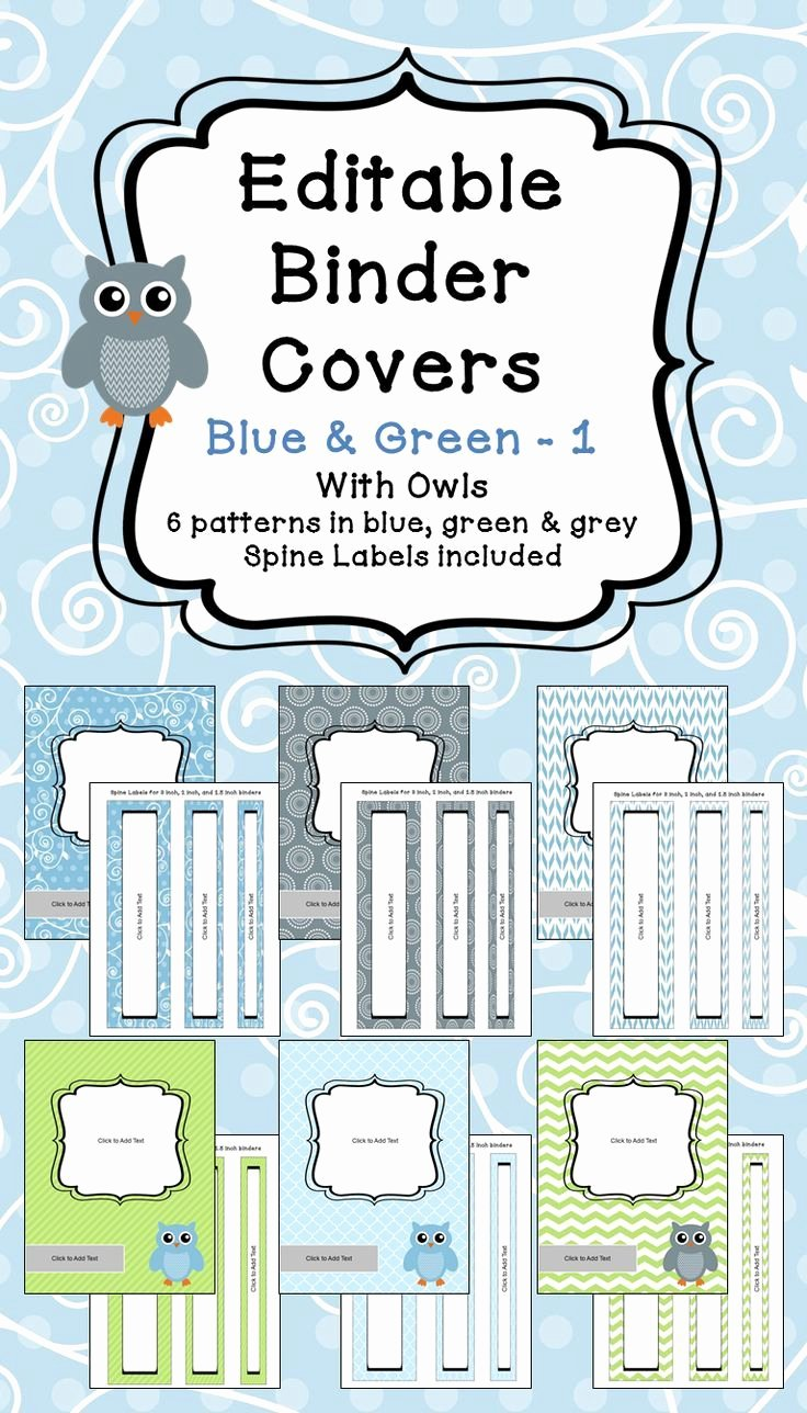 2 Inch Binder Spine Template Unique Editable Binder Covers & Spines In Blue & Green with Owls