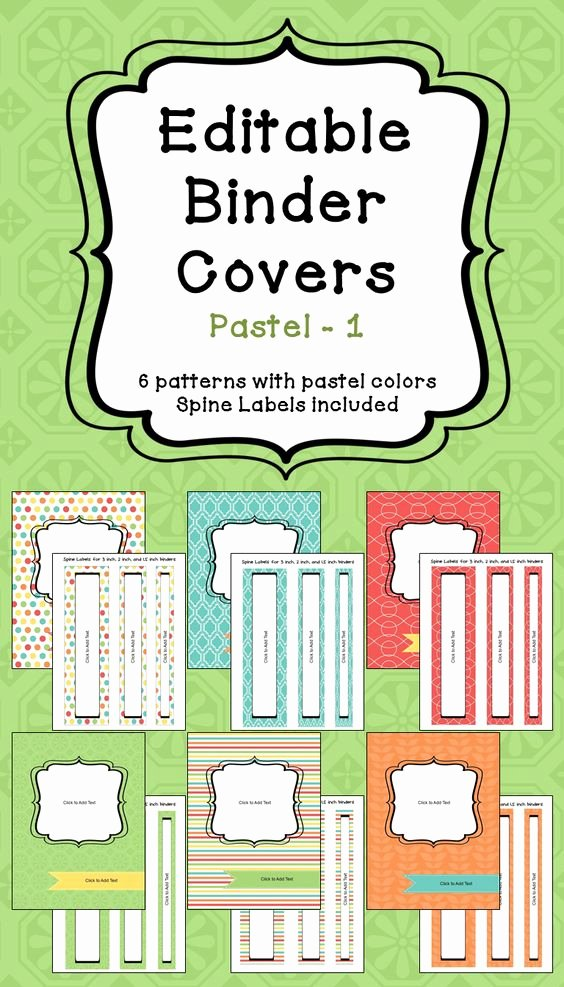 2 Inch Binder Spine Template Unique Editable Binder Covers & Spines In Pastel Colors Part 1