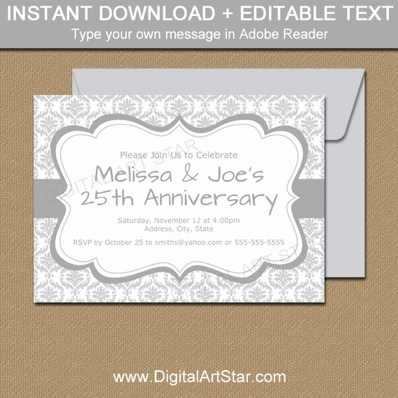 25th Wedding Anniversary Invitations Templates Awesome Silver Invitations Instant Download 25th Anniversary
