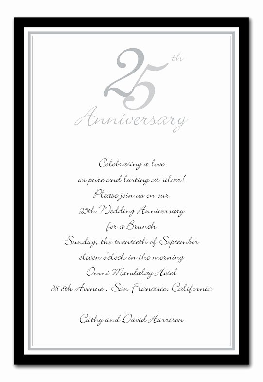 25th Wedding Anniversary Invitations Templates Beautiful 25th Anniversary Silver Anniversary Invitations by