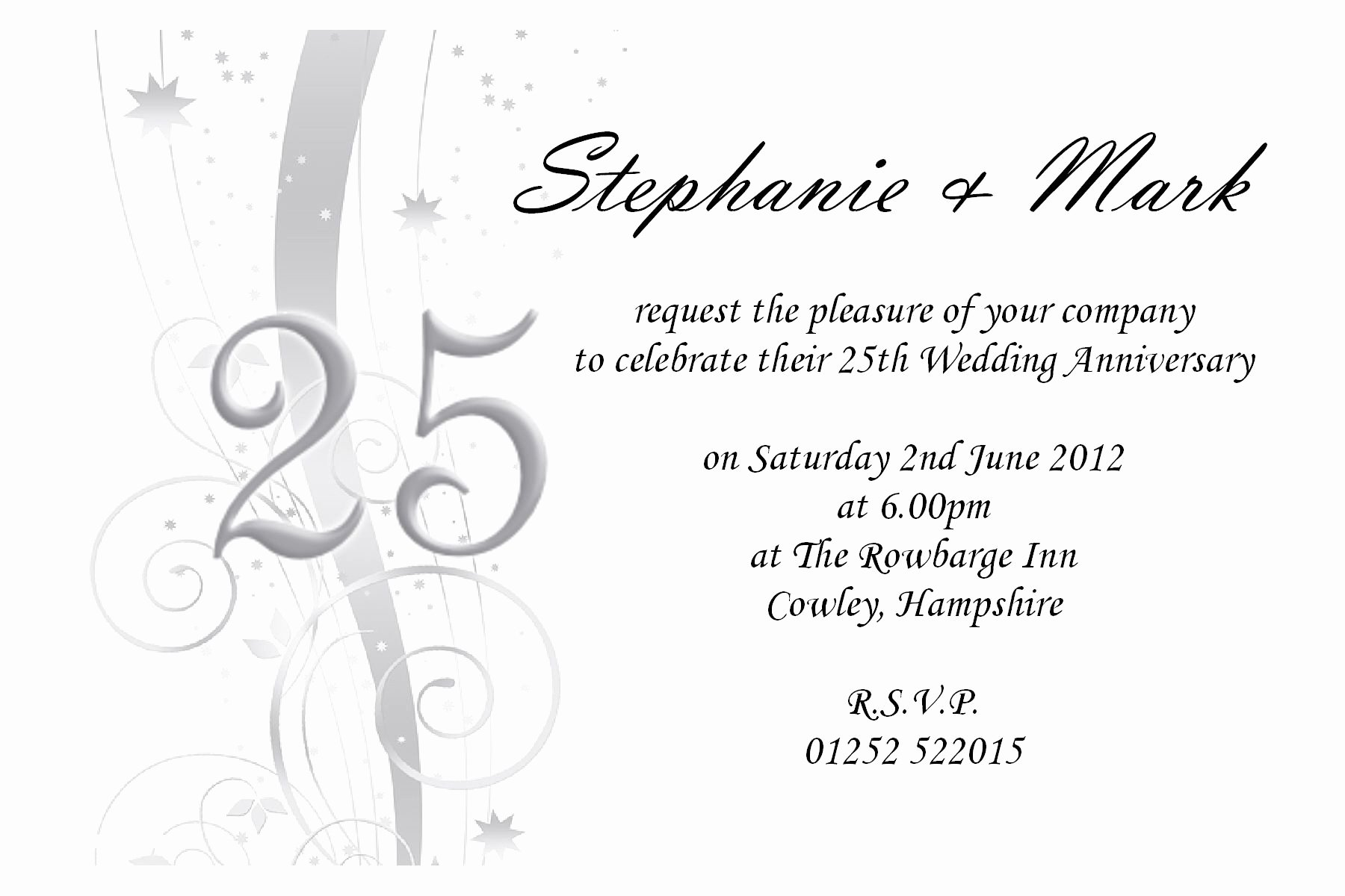 25th Wedding Anniversary Invitations Templates Elegant Free 25th Wedding Anniversary Invitations Free Online