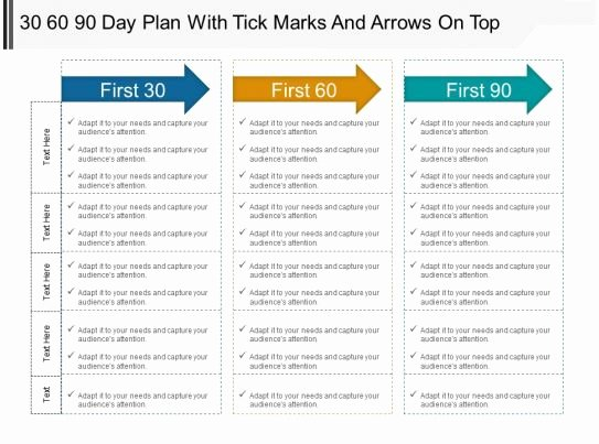 30 60 90 Plan Templates Lovely 30 60 90 Day Plan with Tick Marks and Arrows top