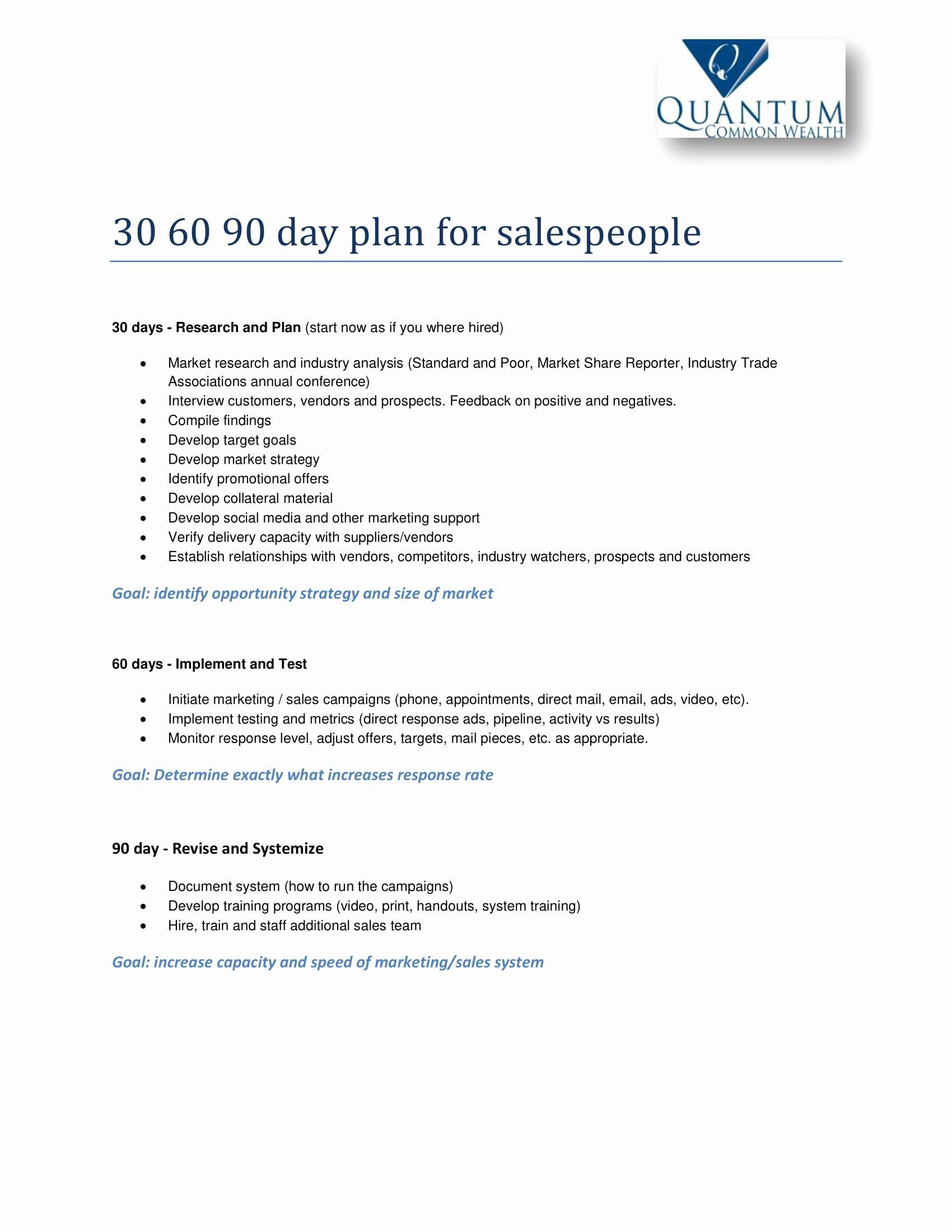 30 60 90 Plan Templates Luxury 12 30 60 90 Day Sales Plan Examples Pdf Word