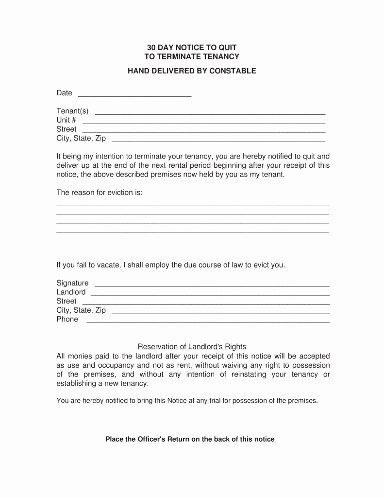 30 Days Eviction Notice Template Awesome 30 Day Eviction Notice Template