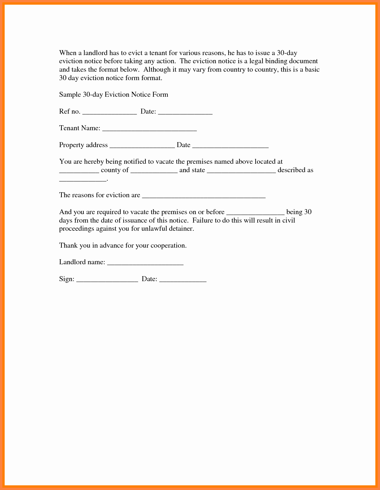 30 Days Eviction Notice Template Elegant 6 30 Day Eviction Notice Pdf