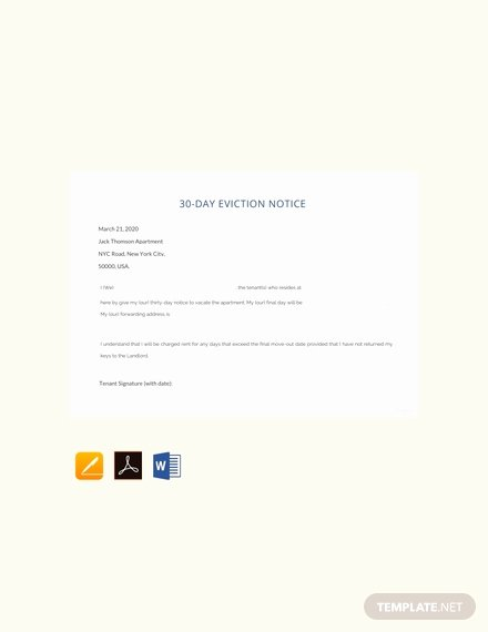 30 Days Eviction Notice Template Lovely Free 30 Day Eviction Notice Template Download 68 Notices