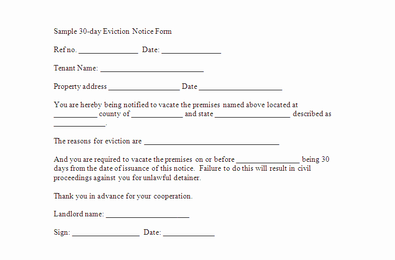 30 Days Eviction Notice Template Luxury Eviction Notice Template