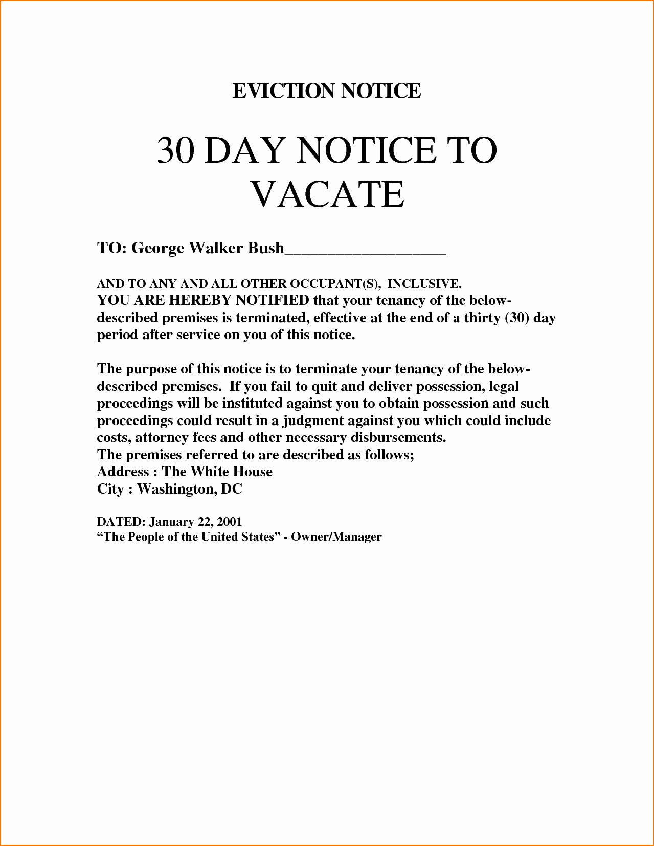 30 Days Eviction Notice Template New 3 Eviction Notice Template