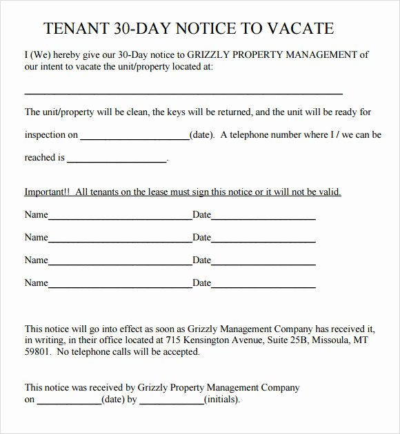 30 Days Eviction Notice Template Unique Sample 30 Day Notice Template 10 Free Documents In Pdf