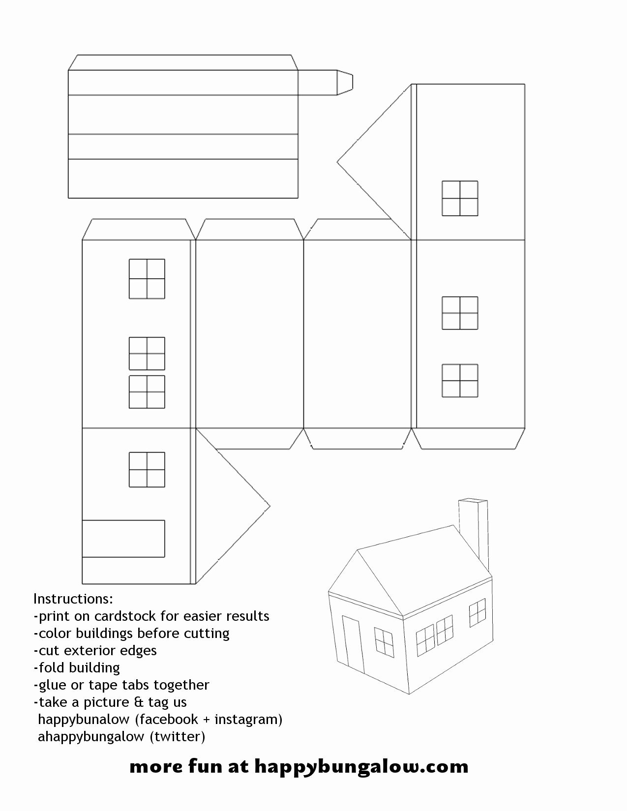 3d Paper Building Templates Awesome Pin by Happy Bungalow On Diy Paper Crafting