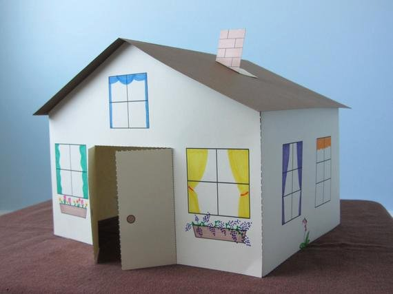 3d Paper Building Templates Inspirational 3d Paper House Craft for Kids Instant Download Template