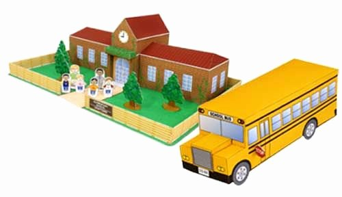3d Paper Building Templates Inspirational Papercraft town School Building and Bus Paper Model