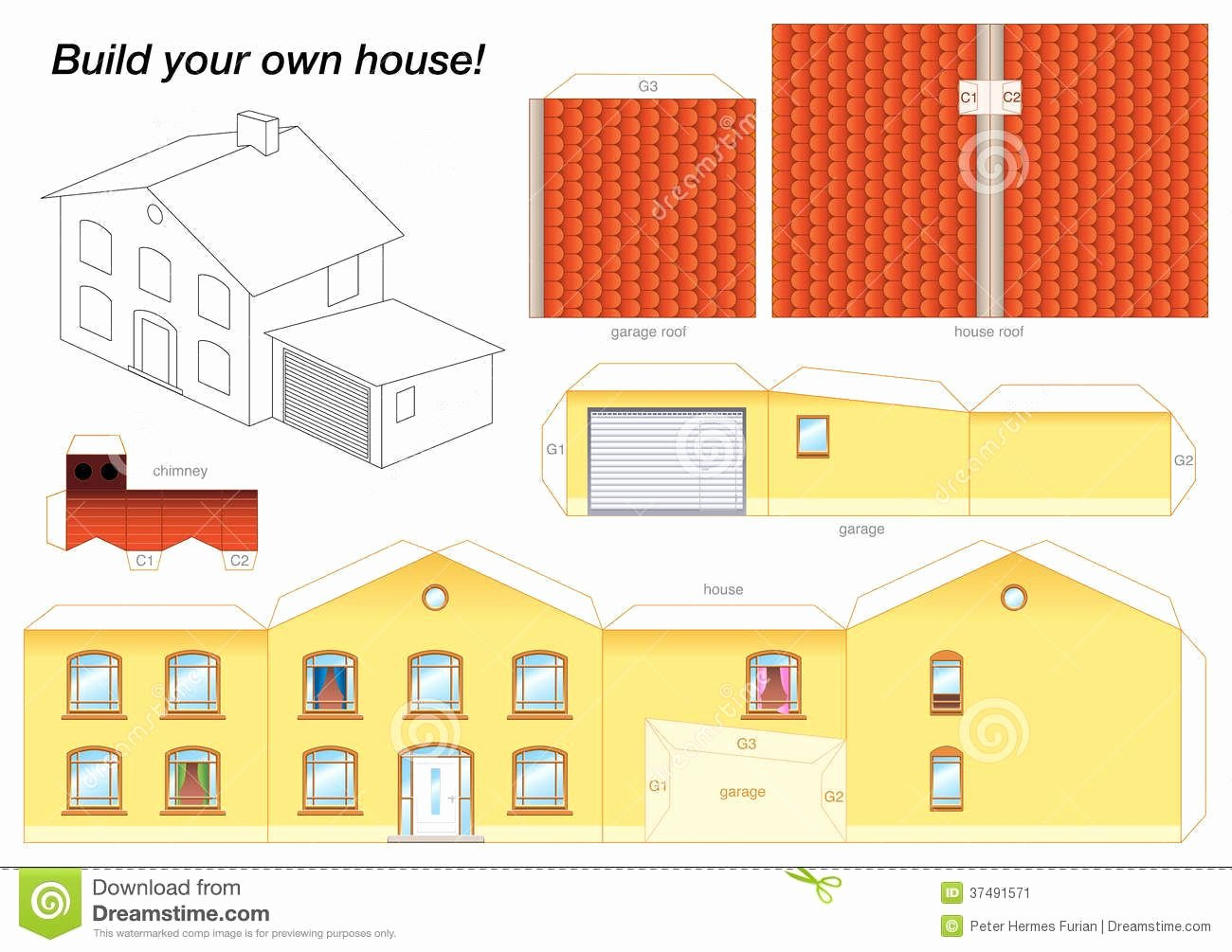 3d Paper Building Templates New Paper Model House Yellow Download From Over 54 Million