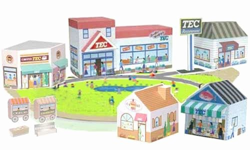 3d Paper Building Templates New town Buildings Papercraft – Shop Store Shopping Mall for