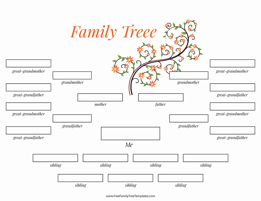 4 Generation Family Tree Templates Luxury 4 Generation Family Tree Many Siblings Template – Free
