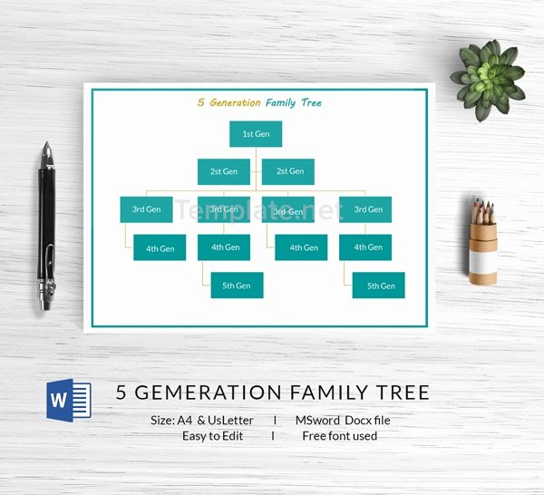 5 Generation Family Tree Template Fresh 13 Free Family Tree Templates Blank Chart Printable