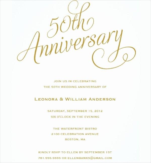 50th Anniversary Invitations Templates Beautiful 23 Wedding Anniversary Invitation Card Templates Word