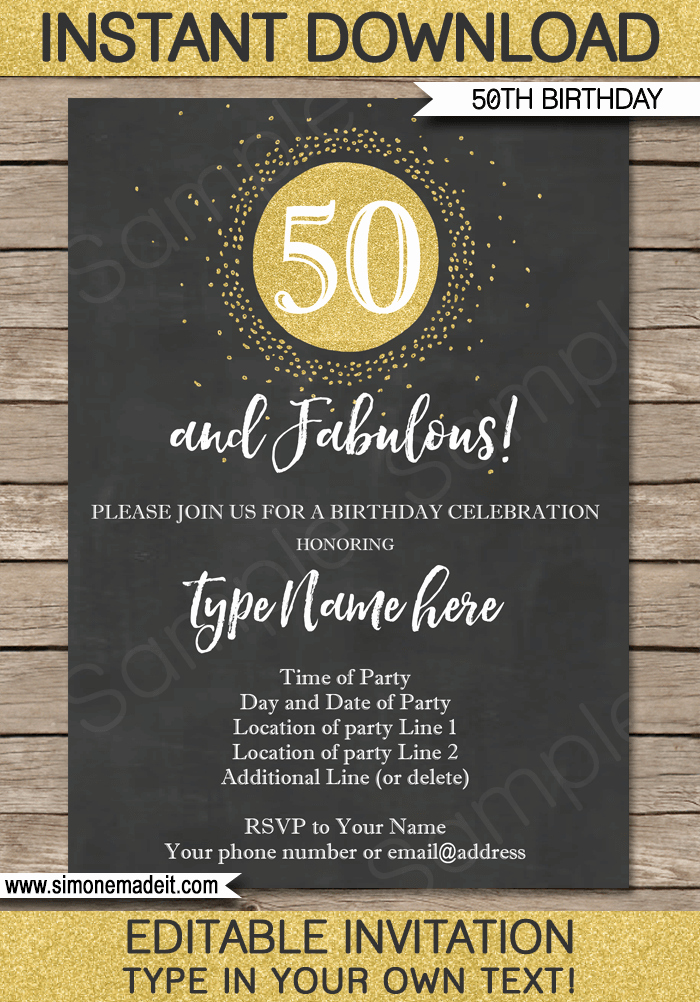 50th Anniversary Invitations Templates Best Of Chalkboard 50th Birthday Invitations Template