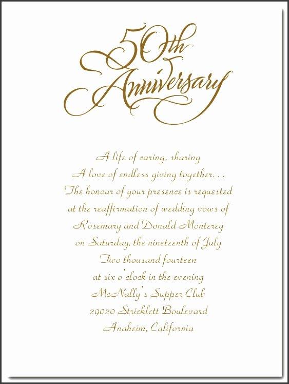 50th Anniversary Invitations Templates Elegant 6 Anniversary Invitations Template Sampletemplatess