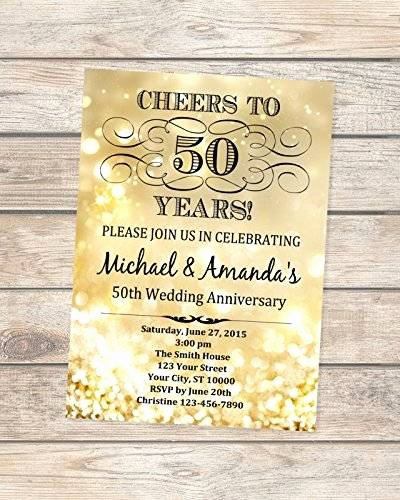 50th Anniversary Invitations Templates Elegant Amazon 50th Golden Wedding Anniversary Invitation