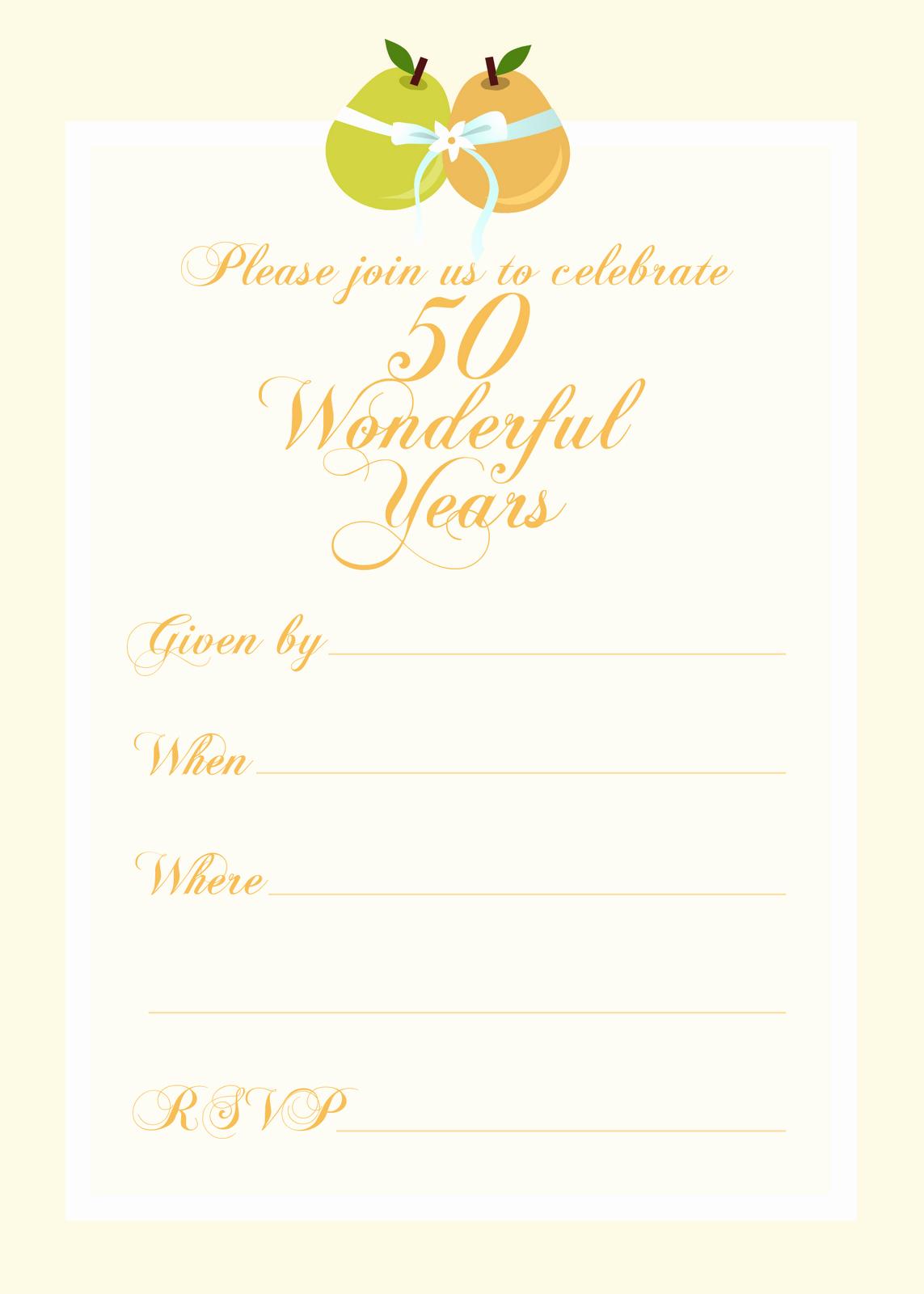 50th Anniversary Invitations Templates Elegant Free Printable 50th Birthday Party Invitation Templates