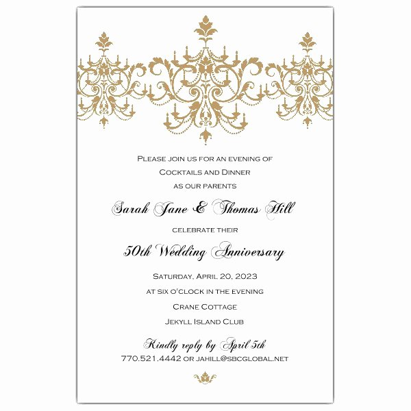 50th Anniversary Invitations Templates Fresh Victorian Scroll Flourish Gold 50th Anniversary