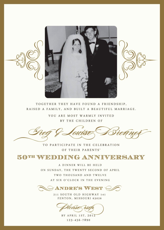 50th Anniversary Invitations Templates Inspirational Golden 50th Anniversary Party Invitation